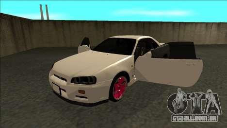 Nissan Skyline R34 Drift JDM para GTA San Andreas vista traseira