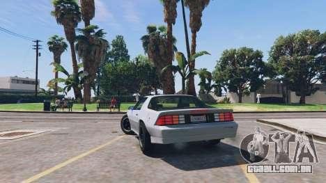 GTA 5 Chevrolet Camaro IROC-Z [BETA] traseira vista lateral esquerda