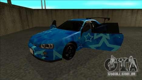 Nissan Skyline R34 Drift Blue Star para GTA San Andreas vista traseira