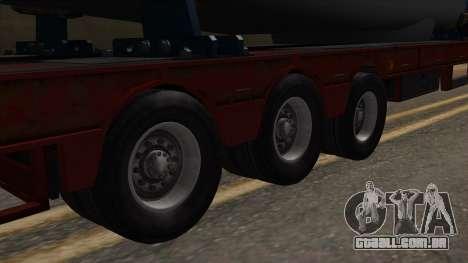 Overweight Trailer Stock para GTA San Andreas traseira esquerda vista