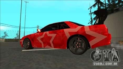 Nissan Skyline R32 Drift Red Star para GTA San Andreas esquerda vista