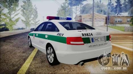 Audi A6 C6 Lithuanian Police para GTA San Andreas esquerda vista