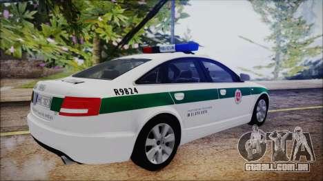 Audi A6 C6 Lithuanian Police para GTA San Andreas traseira esquerda vista