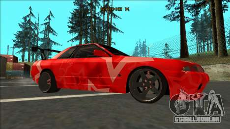 Nissan Skyline R32 Drift Red Star para GTA San Andreas vista direita
