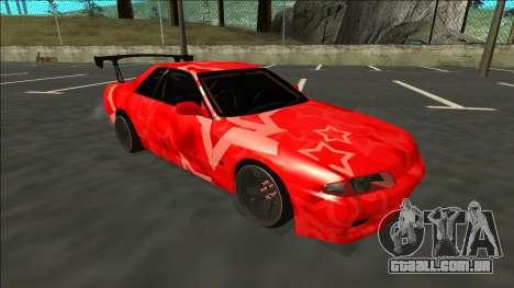 Nissan Skyline R32 Drift Red Star para GTA San Andreas traseira esquerda vista