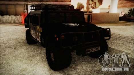 Hummer H1 Police para GTA San Andreas traseira esquerda vista