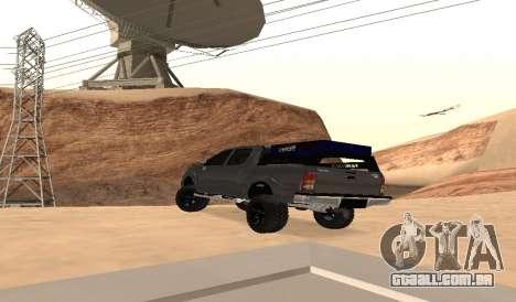 Toyota Hilux 2012 Activa barra de led para GTA San Andreas traseira esquerda vista