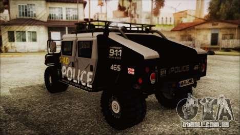 Hummer H1 Police para GTA San Andreas esquerda vista