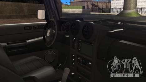 Hummer H2 para GTA San Andreas traseira esquerda vista
