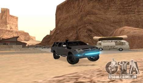 Toyota Hilux 2012 Activa barra de led para GTA San Andreas vista traseira