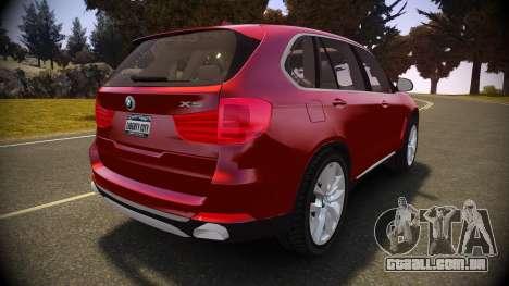 BMW X5 2014 para GTA 4 traseira esquerda vista