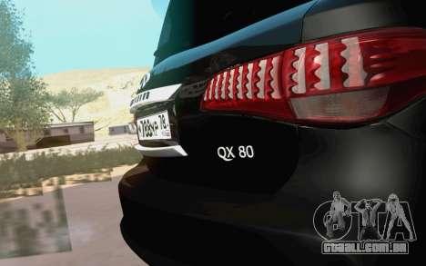 Infiniti QX80 para GTA San Andreas vista direita