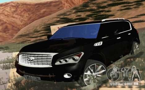 Infiniti QX80 para GTA San Andreas traseira esquerda vista