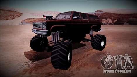 Rancher XL Monster Truck para GTA San Andreas vista traseira