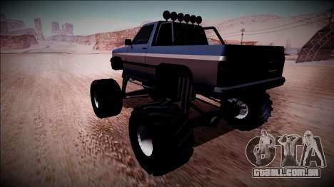 Rancher Monster Truck para GTA San Andreas traseira esquerda vista