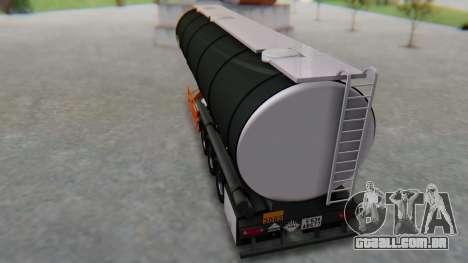 Trailer Cistern para GTA San Andreas traseira esquerda vista