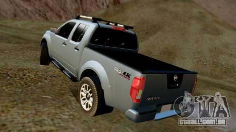 Nissan Frontier PRO-4X 2014 para GTA San Andreas traseira esquerda vista