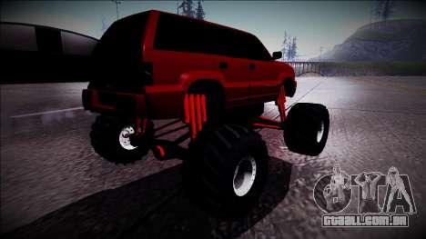 GTA 4 Cavalcade Monster Truck para GTA San Andreas traseira esquerda vista