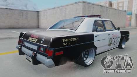 Dodge Dart 1975 v3 Police para GTA San Andreas esquerda vista