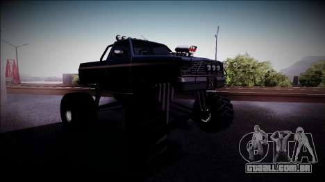 Rancher Monster Truck para GTA San Andreas vista traseira