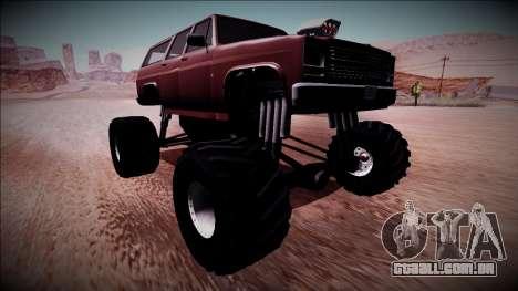 Rancher XL Monster Truck para GTA San Andreas traseira esquerda vista