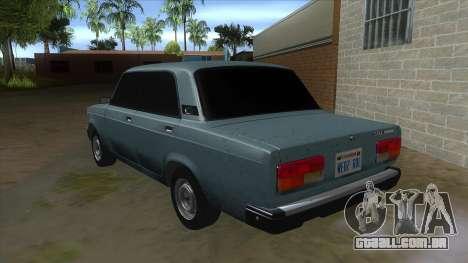 VAZ 2107 v1 para GTA San Andreas traseira esquerda vista