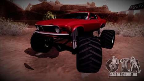 1970 Ford Mustang Boss Monster Truck para GTA San Andreas traseira esquerda vista