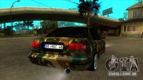 Certificado Honda Civic de holandês TSK para GTA San Andreas vista direita