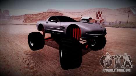 Chevrolet Corvette C5 Monster Truck para GTA San Andreas traseira esquerda vista