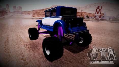 GTA 5 Albany Roosevelt Monster Truck para GTA San Andreas traseira esquerda vista