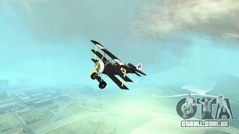 Fokker Dr1 triplane para GTA San Andreas vista traseira