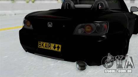 Honda S2000 Berlin Black para GTA San Andreas vista traseira