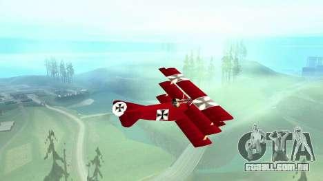 Fokker Dr1 triplane para GTA San Andreas traseira esquerda vista