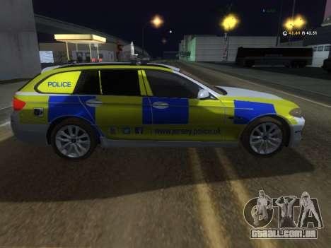 Jersey Polícia BMW 530d Touring para GTA San Andreas traseira esquerda vista