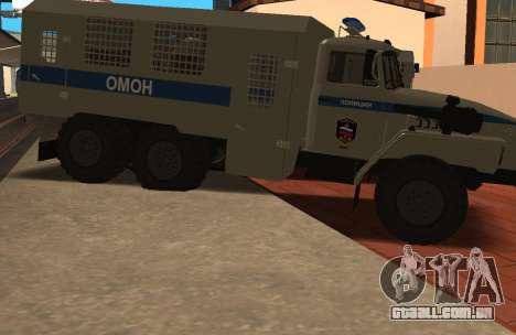 Ural 4320 de polícia de choque para GTA San Andreas esquerda vista