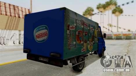 Zastava Rival Ice Cream Truck para GTA San Andreas esquerda vista