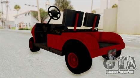 GTA 5 Gambler Caddy Golf Cart para GTA San Andreas vista direita