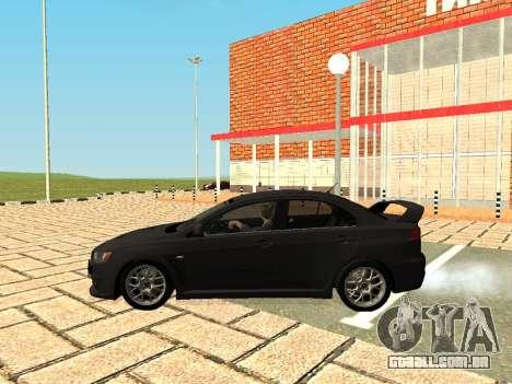 Mitsubishi Lancer Evolution X GVR Tuning para GTA San Andreas vista direita