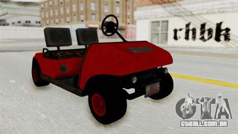 GTA 5 Gambler Caddy Golf Cart para GTA San Andreas traseira esquerda vista