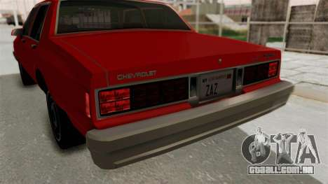 Chevrolet Caprice Classic 1986 v2.0 para GTA San Andreas vista inferior