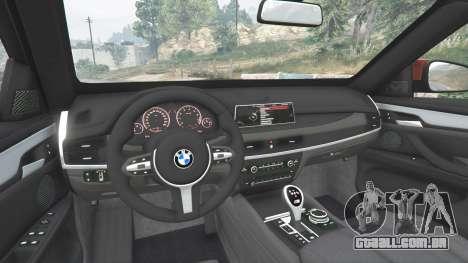 GTA 5 BMW X6 M (F16) v1.6 traseira direita vista lateral