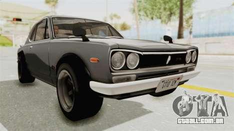 Nissan Skyline KPGC10 1971 para GTA San Andreas vista direita