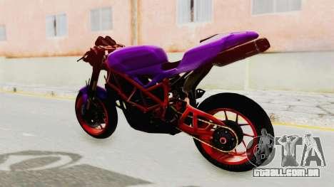 Ducati 1098 Nakedbike para GTA San Andreas traseira esquerda vista