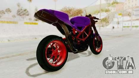 Ducati 1098 Nakedbike para GTA San Andreas esquerda vista