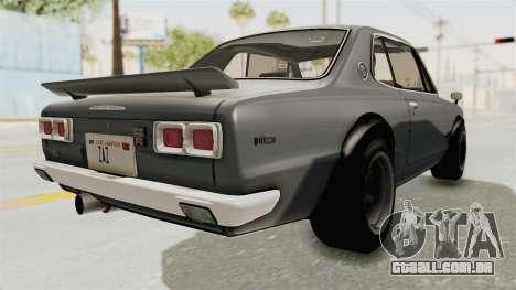 Nissan Skyline KPGC10 1971 para GTA San Andreas traseira esquerda vista