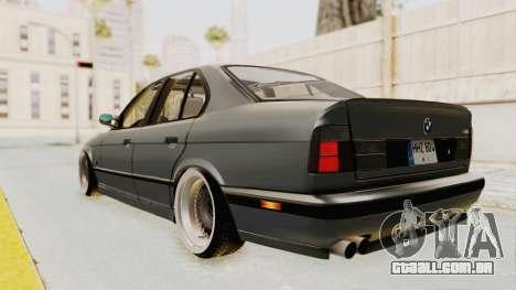 BMW M5 E34 USA para GTA San Andreas traseira esquerda vista