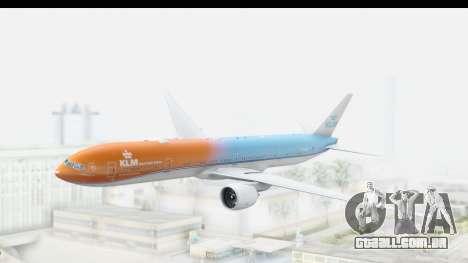 Boeing 777-300ER KLM Orange Pride para GTA San Andreas traseira esquerda vista