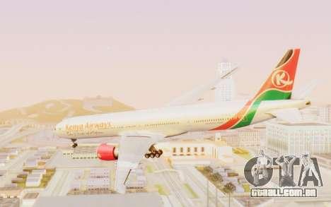 Boeing 777-300ER Kenya Airways para GTA San Andreas vista direita