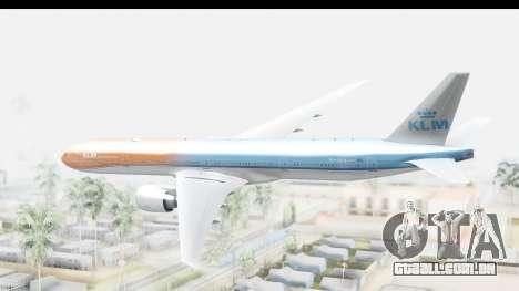 Boeing 777-300ER KLM Orange Pride para GTA San Andreas vista direita