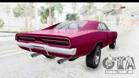 Dodge Charger 1969 Racing para GTA San Andreas vista direita